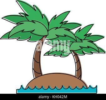 Beach and palms - Stock Photo