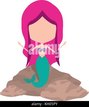 mermaid in a rock without face and magenta hair on white background - Stock Photo