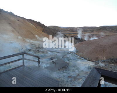 View over Seltun Geothermal Area, Krysuvik, Iceland, Europe - Stock Photo