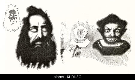 Old illustration of decoupage technique. By unidentified author, publ. on Magasin Pittoresque, Paris, 1847 - Stock Photo
