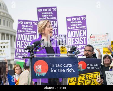 U.S. Massachusetts Senator Elizabeth Warren speaks during a Democratic rally in opposition to the Republican Tax - Stock Photo