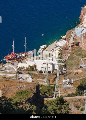 Cable car from Thira to the old harbour, Santorini, Cyclades, Aegean, Greece - Stock Photo