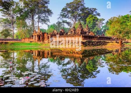 Angkor, Cambodia. Banteay Srei (Citadel of the Women) temple. - Stock Photo