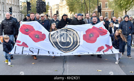 London, UK.  12 November 2017.  Members of the Football Lads Alliance arrive to lay a wreath at The Cenotaph on - Stock Photo