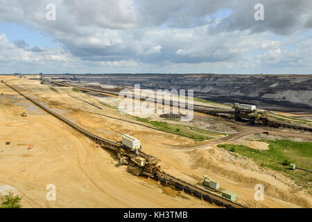 Parts of Garzweiler surface mine, RWE Power, shot from observation deck Jackerath viewpoint, view into the opencast - Stock Photo