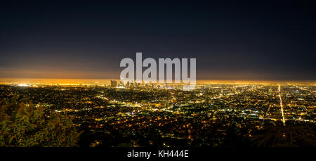 Panorama Los Angeles LA City Night view from Griffith Observator - Stock Photo