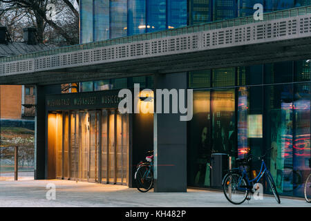 Helsinki, Finland - December 7, 2016: Entrance To Building Of Music Hall Music Centre In Evening. - Stock Photo