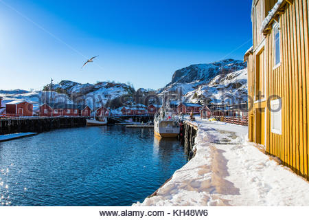 nusfjord, nusfjorden, flagstadøya, lofoten, nordland, norway, march 2017 - Stock Photo