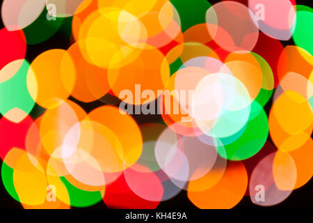 Bright blurred festive and colorful Christmas lights abstract background texture. Concept for party xmas new year - Stock Photo