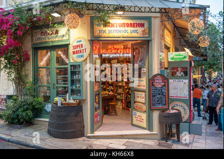 Vintage shop at dusk in Plaka, the picturesque neighborhood of the old historical Athens located between Acropolis - Stock Photo
