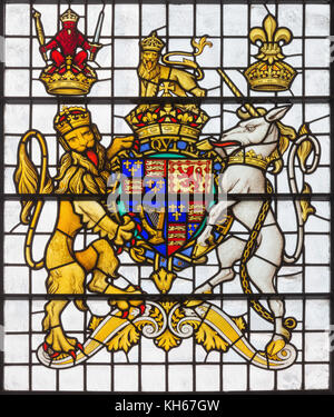LONDON, GREAT BRITAIN - SEPTEMBER 14, 2017: The England royal arms in church St. Edmund the King from 19. cent. - Stock Photo