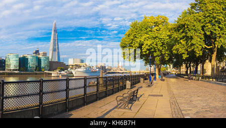London - The panorama of Thames riverside and Shard from promenade in morning light. - Stock Photo