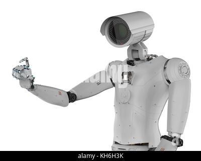 3d rendering robot security camera or cyborg cctv camera - Stock Photo