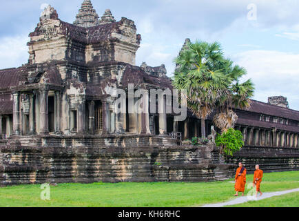 Buddhist monks at the Angkor Wat Temple in Siem Reap Cambodia - Stock Photo