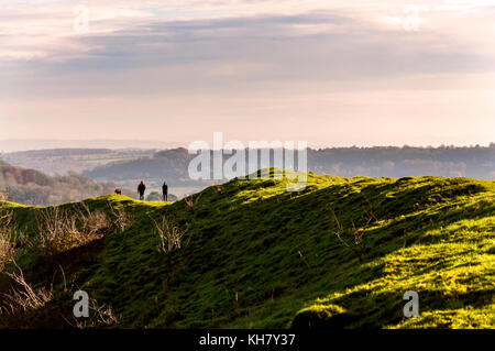 Little Solsbury Hill, Somerset, UK weather. 16th November 2017. After a cloudy start to the day beautiful bright - Stock Photo