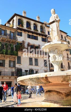 Verona, Italy. Fountain of Piazza delle Erbe - Stock Photo