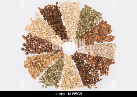 circle made from assorted nuts  - Stock Photo