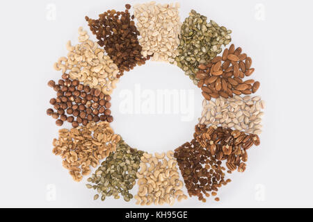 circle made from various nuts  - Stock Photo