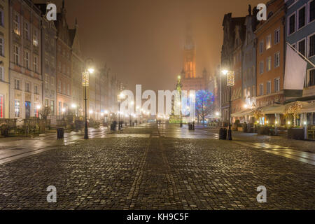Misty scenery. Night at medieval Long Market street (Dlugi Targ) in Gdansk. Poland. - Stock Photo