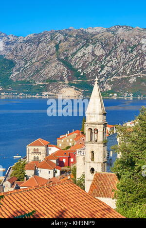 St. Nicholas belltower, Perast balkan village, Kotor Bay, Montenegro - Stock Photo