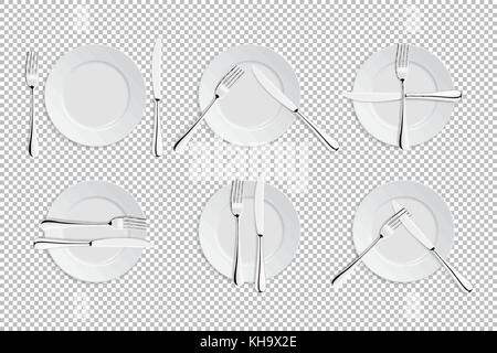 Vector realistic cutlery and signs of table etiquette. Catering facilities isolated icons. Set of of forks, table - Stock Photo