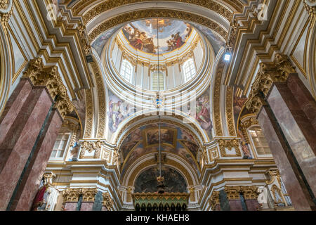 Dome, interior of St. Paul's Cathedral, Mdina, Malta - Stock Photo