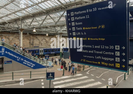 New information signs and improved pedestrian routes at Waverley Station, Edinburgh,Scotland,UK - Stock Photo
