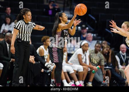 Winston-Salem, NC, USA. 15th Nov, 2017. Texas Southern guard Kaitlyn Palmer (20) passes in the NCAA Womens Basketball - Stock Photo