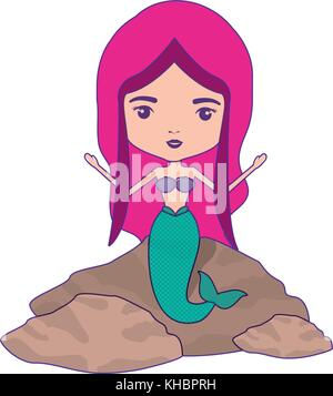 mermaid in a rock and magenta hair with purple contour - Stock Photo