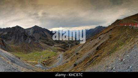 view of Col du Tourmalet in autumn (Hautes Pyrenees, France) - Stock Photo