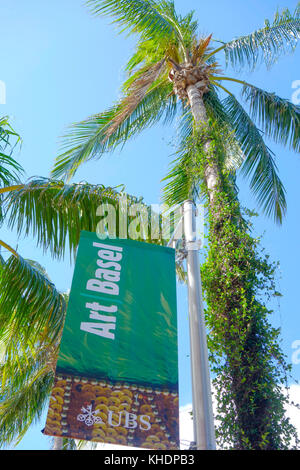 Art Basel 2017 Sign on Lincoln Road Mall, South Beach Miami, USA. - Stock Photo