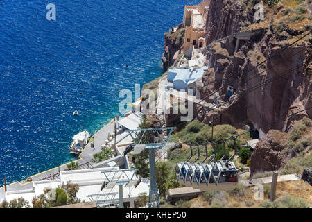 Cable car from Thira to the old harbour, Santorin island, Cyclades, Aegean, Greece - Stock Photo