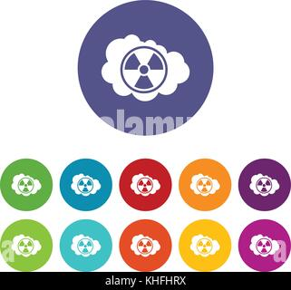 Cloud and radioactive sign set icons in different colors isolated on white background - Stock Photo