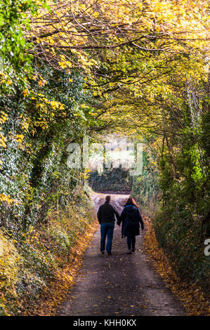 Little Solsbury Hill, Somerset, UK weather. 19th November 2017. People walking down a lane from the top of the landmark - Stock Photo