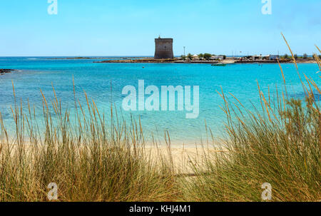 Picturesque Torre Chianca beach and historical fortification tower Torre Chianca (Torre Santo Stefano) on Salento - Stock Photo