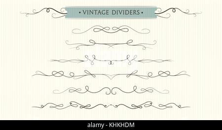 Vector hand drawn flourishes, dividers, graphic lovely design element set. Cute vintage borders. Wedding invitation - Stock Photo