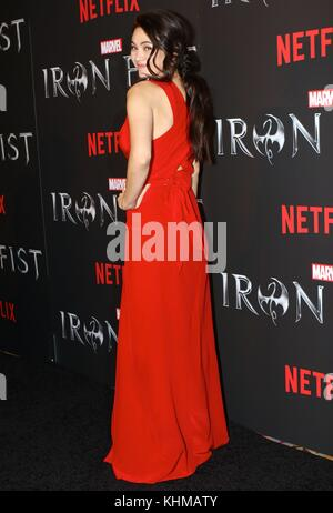 NEW YORK, NY - MARCH 15: Jessica Henwick attends Marvel's 'Iron Fist' New York screening at AMC Empire 25 on March - Stock Photo