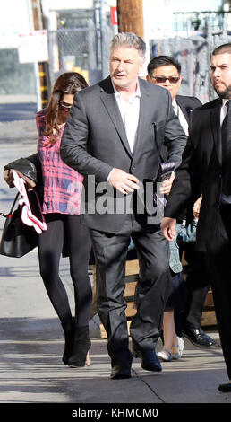 LOS ANGELES, CA - MARCH 01: Alec Baldwin arrived at the Jimmy Kimmel Show with his wife Hilaria Baldwin and daughter - Stock Photo