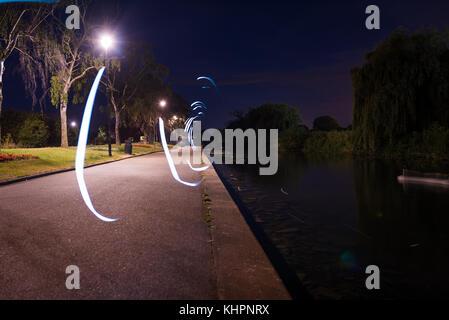 Experimenting with lights and slow shutter speeds. - Stock Photo