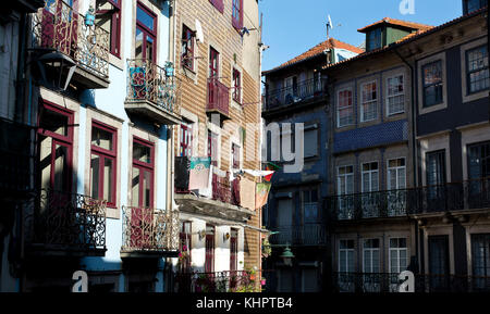 Back street row of old houses in the The Historical old town district of Porto (Oporto), Portugal - Stock Photo