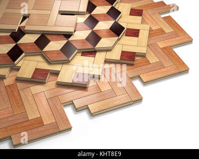 Stack ofr parquet wooden planks. Few types of wooden parquet coating. 3d illustration - Stock Photo