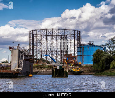London,Greenwich. Gasometer and gas holder, old listed structure is a target for developers who wish to replace - Stock Photo