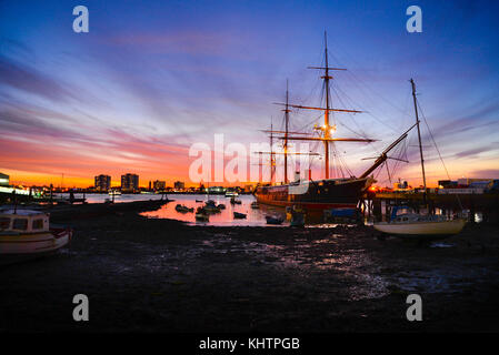 HMS Warrior the first armour-plated, iron-hulled warships - Stock Photo