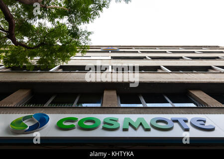 ATHENS, GREECE - NOVEMBER 4, 2017: Cosmote logo on their headquarters for Athens, in Greece. Cosmote, subsidiary - Stock Photo