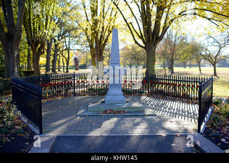 Great War memorial in Priory Park Prittlewell Southend on Sea, Essex. Presented by RA Jones. Space for copy - Stock Photo