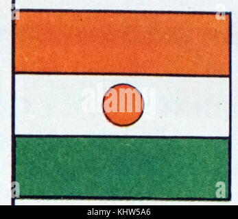 Illustration depicting the National flag of Niger. Dated 20th Century - Stock Photo