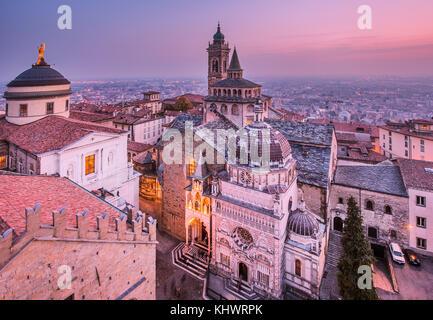 View from Campanone with Duomo to left and Cappella Colleoni/Basilica di Santa Maria Maggiore to right, Bergamo, - Stock Photo