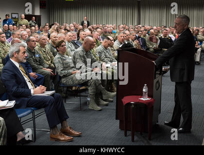 Secretary of Defense, James Mattis speaks to the men and women of the North American Aerospace Defense Command and - Stock Photo