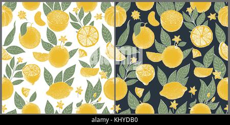 Set of two seamless patterns with hand drawn oranges and slices in sketch style on white and dark background. Vector - Stock Photo