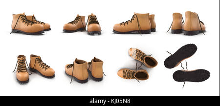 Hiking boots isolated on white 3D Illustration - Stock Photo